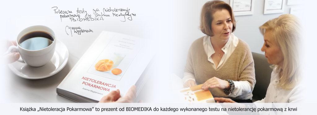 Przy badaniach na nietolerancję pokarmową z krwi każdy pacjent otrzymuje książkę Joanny Węglarowicz.
